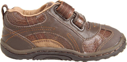 Stride Rite Landon Boys Brown Leather Walkers Shoes SZ 4 XW
