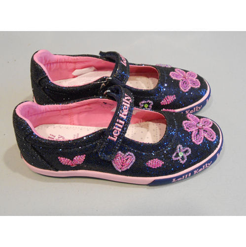 Lelli Kelly Dafne Navy Glitter w Heart Flowers Mary Jane Shoes
