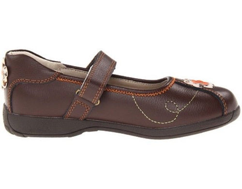 Umi Wendi Girls Brown Flowers Leather Mary Jane Shoes