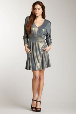 Guess Women's Metallic V-Neck Jersey Dress Size 2