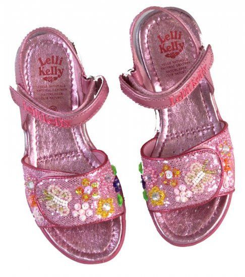 Lelli Kelly Glitter Paradise Fuxia Pink Beaded Sandals SZ 8