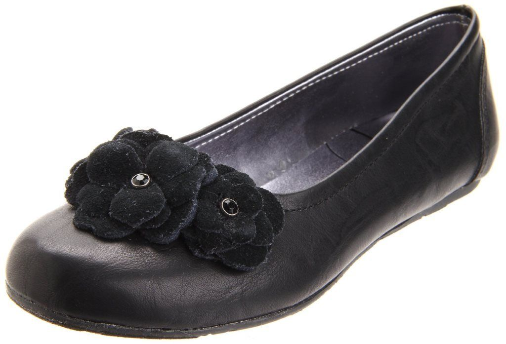 Jessica Simpson Kallie Girls Black Leather with Flowers Flats Dress Shoes
