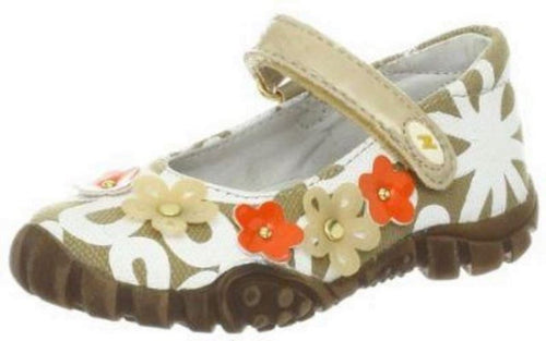 Naturino 3034 Girls Tan White Orange Canvas w Flowers Mary Jane Shoes