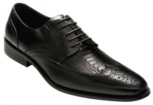 David X Lenny Men's Black Genuine Ostrich & Leather Lace Up Shoes