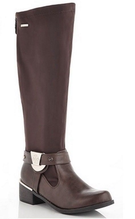 Lady Godiva Violet Brown w Gold Lycra Stretch Riding Boots