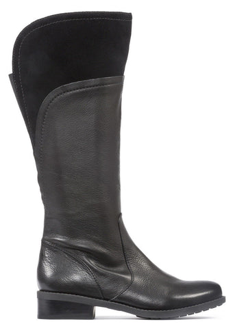 Me Too Delancy Women's WIDE CALF Black Leather Suede Boot