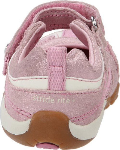 Stride Rite Cassidy Girls Pink Suede w Sequins Mary Jane Shoes Size 5.5 Wide