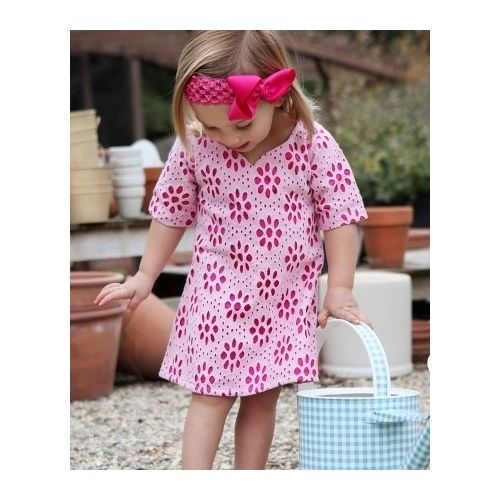 Ruffle Butts Designer Pink Eyelet Cotton Dress