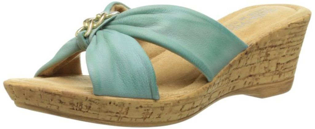 Bella-Vita Aquila Women's Light Blue Leather Slides Sandal