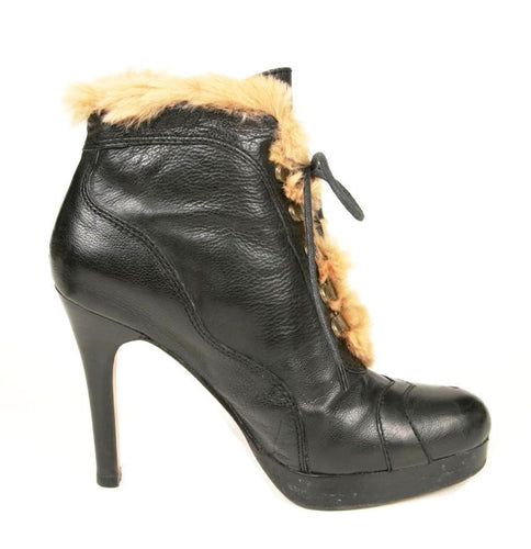 Boutique 58 Women's Black Leather with Fur Lace Ankle Boots SZ 6