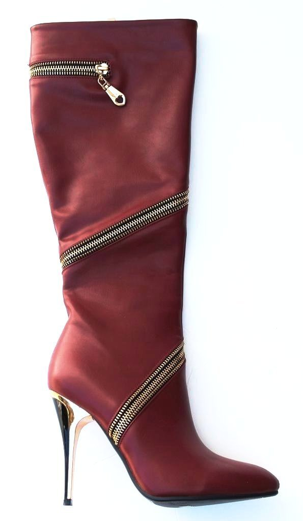 Italina Women's Red Gold Zippered Knee High Boots SZ 6