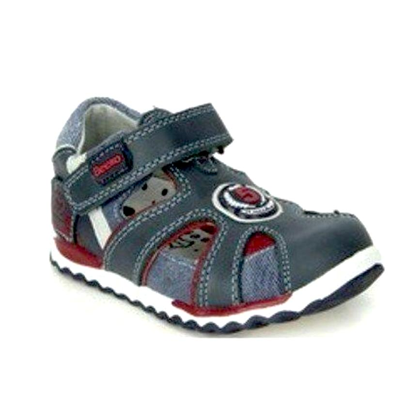 Beeko Adem Boys Navy Leather Closed Toe Sandals