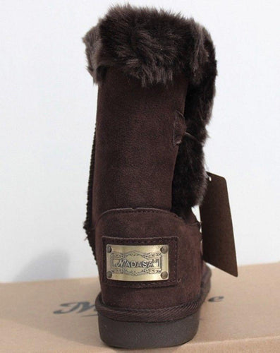 Michelle Brown Women's Suede w Faux Fur Boot SZ 7