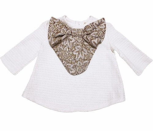 A. Bird Mel Girls Chenille Brocade Bow Top SZ 6
