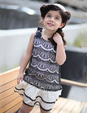 Le Pink Girls Designer Chateau Ivory and Black Lace Dress