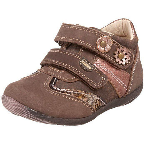 Beeko Keira Girls Brown Leather w Flowers Shoes
