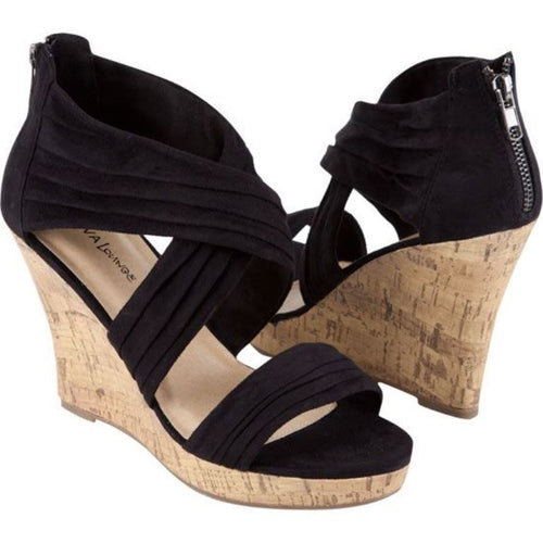 Diva Lounge Mirna Women's Black Platform Cork Wedge Sandal Size 7.5