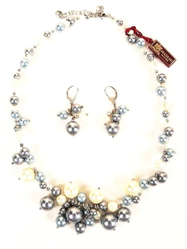 Masami Cream Platinum & Grey Pearl Necklace and Earrings Set