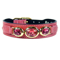 Hartman & Rose Regency Luxury Pink Leather Dog Collar with Crystals SZ 14