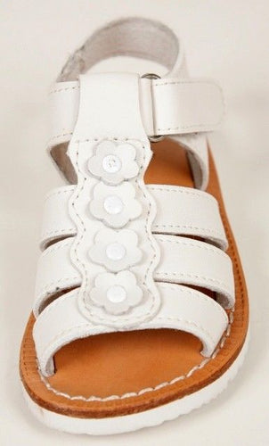 Shoe Be Doo Georgia Girls White Leather Premium Sandals Size 10 (Toddler)