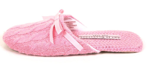 Amy Jo Gladstone Women's Pink Cashmere Cable Slipper SZ Small (New w Defect)