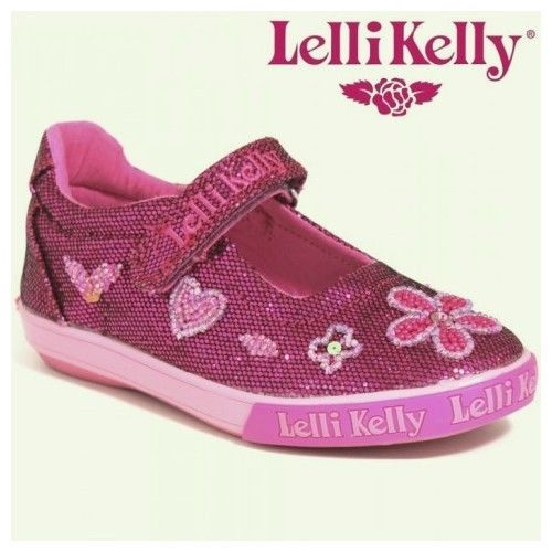 Lelli Kelly Dafne Pink Purple Glitter Mary Jane Shoes SZ 8