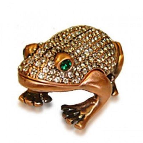 Kalifano Vanity Frog Copper w Swarovski Includes Jewelry Box