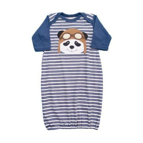 Haute Baby Designer Boys Panda Striped Gown Size 0-3 Mos (Infant)