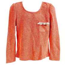 Dino Bebe Girls Orange / Coral Ribbed Bow Sweater
