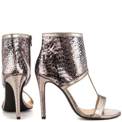 Luichiny Double Digit Pewter Snake Metallic Women's Sandals