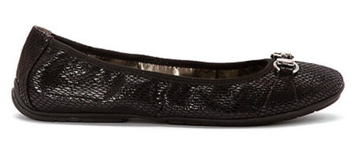 Me Too Legend Black Leather Snake-Embossed Flats
