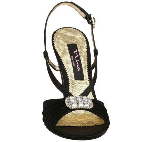 Nina Destiny Womens Black Slingback Evening Sandals SZ 8