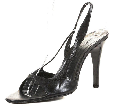 Balenciaga Women's Black Leather Slingback Sandals SZ 38