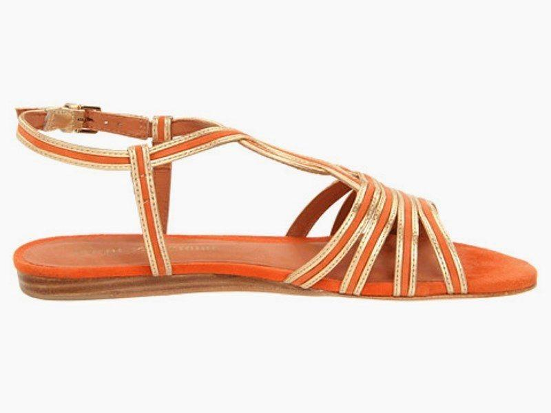 Pour La Victoire Farida Orange Leather w Gold Trim Sandals