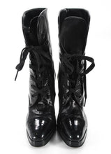Chanel Black Leather Patent Contrast Lace Up Ankle Boots SZ 36 | 6