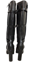 Hermes Black Leather Silver Buckle Straps Boots SZ 41