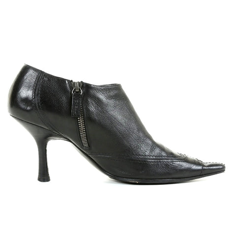 Chanel Women's Black Leather Pointed Toe Bootie SZ 37.5