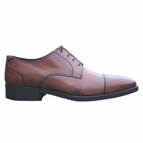 Freetime Men's Premium Italian Brown Leather Cap Toe Oxford Shoes SZ 40 / 7.5