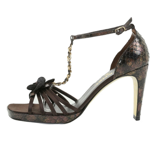 CHANEL CC Brown Satin & Snake Flower-Accented w Gold Chain Sandals SZ 37.5 | 7