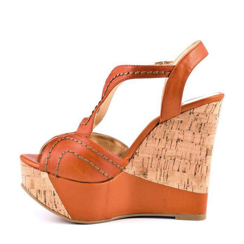Luichiny Van Buren Womens Cognac New Moon Platform Sandals