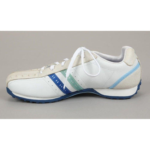 Michelle K Girls White & Blue Leather Sneakers SZ 2.5 (Big Kid)
