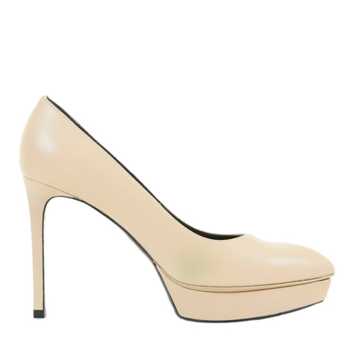 "Saint Laurent ""Classic Janis"" Cream Leather Pointed Toe Platform Pumps SZ 37"