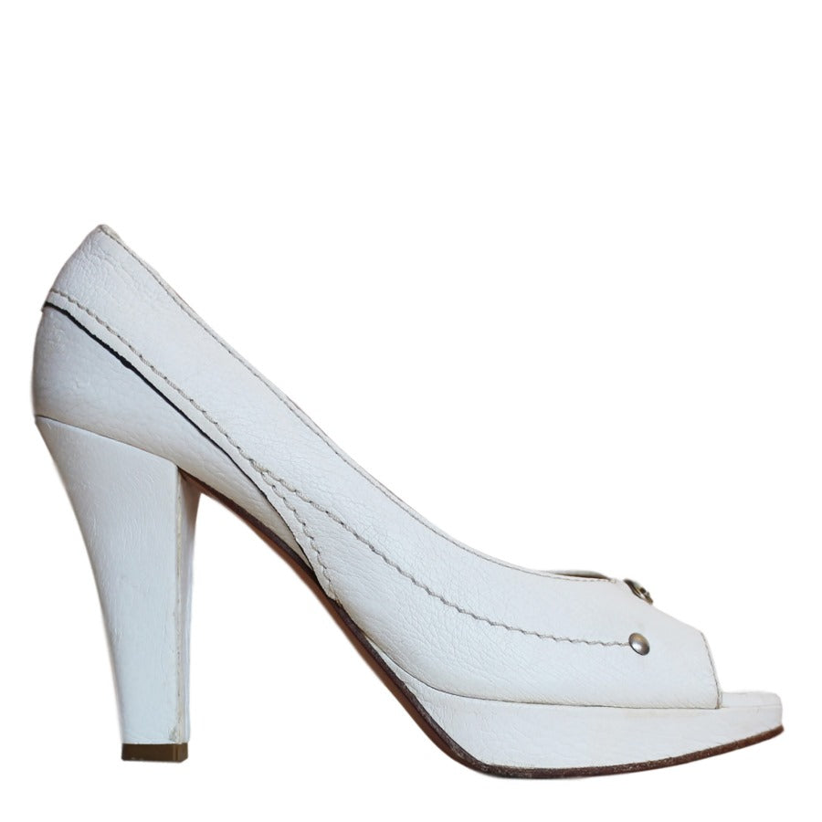 Chloe White Pebble Leather Peep Toe Platform Pumps SZ 39.5 | 9