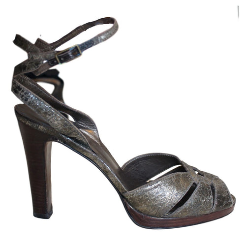 STUART WEITZMAN Turnabout Distressed Gold Leather Ankle Sandals SZ 7.5
