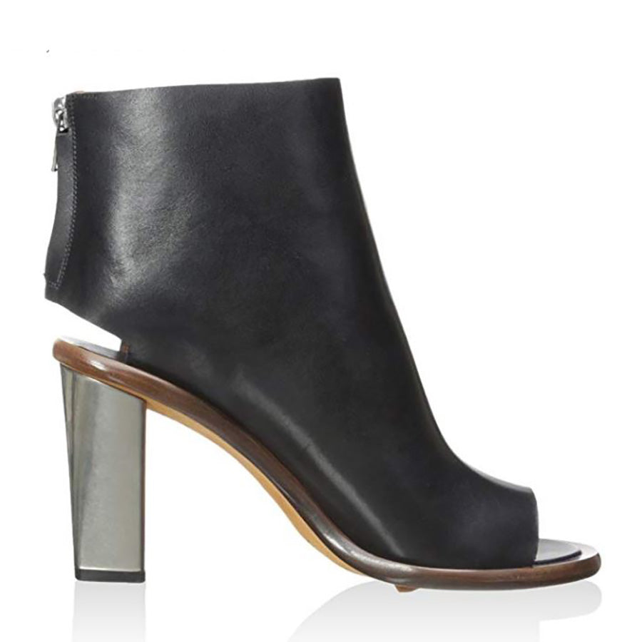 Céline Women's Black Leather Open Toe Bootie SZ 35 5