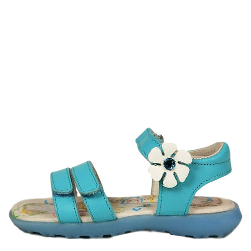 Naturino 4896 Girls Turquoise Leather Sandals SZ 8 US (24 EU Toddlers)