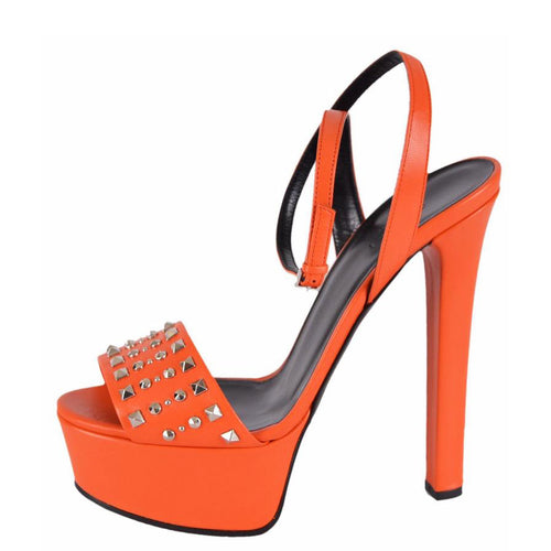 Gucci Leila Women's Orange Leather Studded Platform Sandals SZ 40.5 10.5