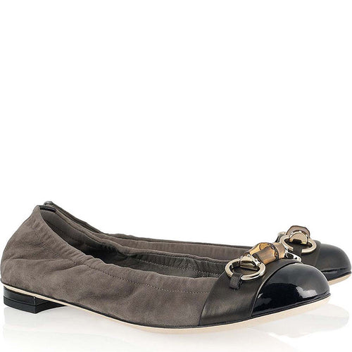 Gucci Gray Suede & Black Patent Leather Ballerina Flats SZ 37.5 | 7