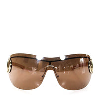 Gucci Womens Pink Brown Gold Metal Frame Shield Sunglasses GG2711 IN CASE