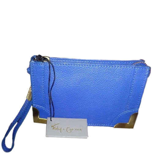 Foley & Corinna Framed Blue Pebble Leather Wristlet Clutch